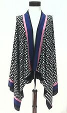 DKNY Logo Open Cardigan Vest Black/Pink/Blue Career Top Blouse Women's M/L $119