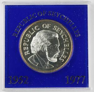 Seychelles 1977 25 Rupees 28.28 Gram Silver Coin Jubilee Royal Orb KM# 38 w/Case
