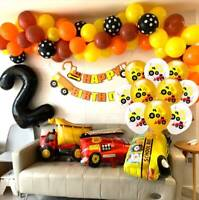 Construction Car Pull Flag Cake Card Balloon Party Decoration Boy Birthday Party