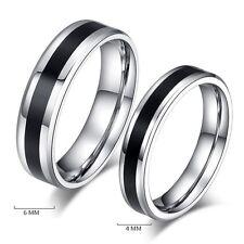 Size 12 Fashion Jewelry Titanium Band Stainless Steel Black Ring Men Women  6mm
