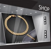 18k Goldkette Armkette 9MM extra dick Biker Kette für Herren Damen vergoldet GA7