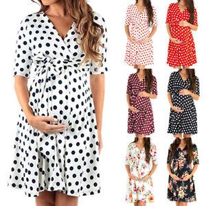 ✅ Women Short Sleeve Pregnant Maternity Print Dress Ladies V Neck Short Dresses