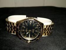 GALAXIE by ELGIN Wristwatch Quartz Gold Color Black Face NOS Orig Box W1654