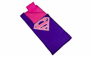 NEW! Wildkin SUPERMAN  Pink and Purple SLEEPING BAG with PILLOW and STORAGE BAG