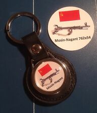 Mosin-Nagant 762x64 SNIPER RIFLE  REAL LEATHER KEY RING  &  Sticker