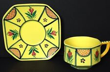 Henriot Quimper Yellow Demitasse Cup & Saucer; Breton Man France Octagonal Shape