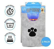 More details for 2x microfibre pet towel dog cat super absorbent quick drying soft grey 60x100cm