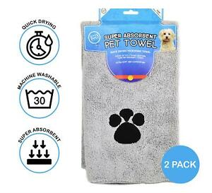 2x Microfibre Pet Towel Dog Cat Super Absorbent Quick Drying Soft Grey 60x100cm