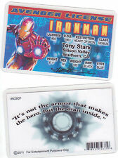 Iron Man Tony Stark of the AVengers novelty collectors card Drivers License