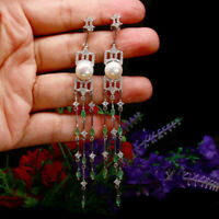 NATURAL 10 mm. WHITE PEARL GREEN EMERALD & CZ LONG EARRIGNS 925 STERLING SILVER