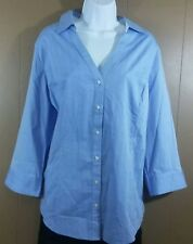 Lane Bryant womens size 22 long sleeve button down shirt blue white herringbone