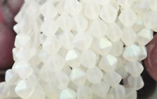 50 SNOW FROST AB BICONE CZECH GLASS BEADS 6MM