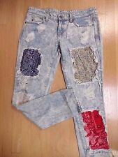 CARMAR LIGHT BLUE DISTRESSED PATCHES STRAIGHT LEG JEANS 27 NWOT