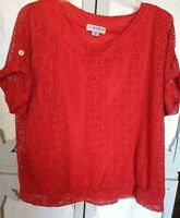 Sag Harbor Woman Top 2X Red Lace Over Shell Short Sleeve  Work to Casual