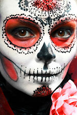 BEAUTIFUL MEXICAN SUGAR SKULL CANVAS PICTURE #42 STUNNING GOTHIC MAKE UP CANVAS