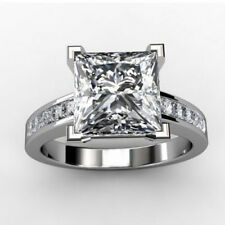 Certified 2.80Ct White Lovely Princess Cut Diamond Engagement Ring In 14K Gold