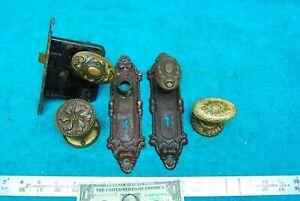 4 Antique Ornate Bronze Doorknobs 2 door Plates etc Old Salvaged Hardware!