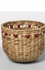 "9.4"" x 8"" Water Hyacinth Beaded Woven Basket Natural/Red - Opalhouse"