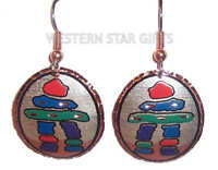Inukshuk Copper Earrings Silver Plated Handmade Eskimo Jewelry Inuit Pendant New