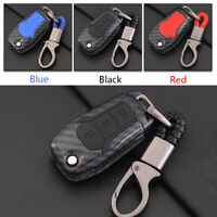 Carbon Fiber Shell+Silicone Cover Remote Key Holder Fob Case For Ford Everest