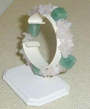 Natural Rose Quartz & Aventurine stone beads 2 strand stretchy 7in bracelet BR19
