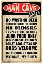 Man Cave  Rules Rustic Tin Sign 20 x 30 cm
