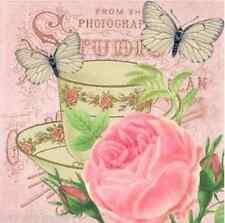 4 x Single Vintage Table PAPER NAPKINS - FLOWERS CUPS / DECOUPAGE