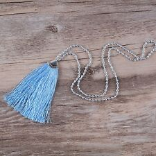 Handmade Silver Plated Round Beaded Necklace High End Blue Tassels Long Necklace