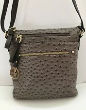 New Giani Bernini Grey Ostrich Faux Embossed Crossbody 9466Gy $129