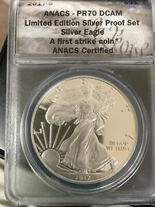 """2017 S AMERICAN SILVER EAGLE FROM LIMITED EDITION SET PR 70 DCAM """"FIRST STRIKE"""""""