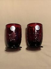 Princess House 5265 Fantasia Ruby Red Crystal  Glass Candle Holders -Lot Of Two
