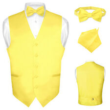 Men's Dress Vest BOWTie Hanky Solid Color Waistcoat Bow Tie Set Suit or Tuxedo