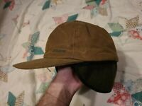 FILSON oil cloth brown Hunting Hiking Baseball Style Hat with drop down flaps S