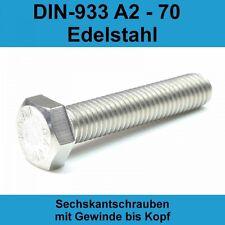 DIN 933 Sechskantschraube VG M6x14 Edelstahl A2 blank