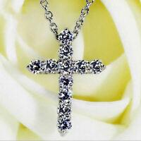 "2ct Round Cut D/VVS1 Diamond Cross Pendant 14K White Gold Over W/18"" Free Chain"