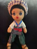 Mexican Doll Vintage 1970's Handmade  w/  Apron and striped pants - Button Eyes