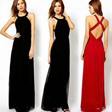 NEW Women Summer Maxi Evening Party Dress Beach Chiffon Long Dress 085a