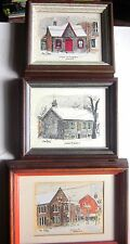 3 Vintage Framed Watercolors by HANS PLANIA Canadian Listed Artist  Toronto Area