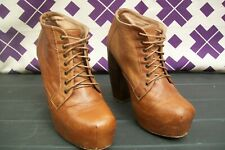 TopShop Brown Leather Lace-up Block Platform High Heel Shoes UK 5  EUR 39