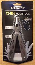 SHEFFIELD #5725 12-IN-1 MULTI TOOL Pliers Stainless Steel Sheath Pocket Knife