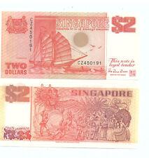 Singapore $2 Banknote Orange Ship TDLR UNC