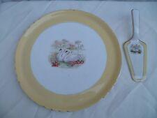 Vintage plat à gâteau rond en céramique du nord Moulin des loups