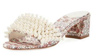 Tory Burch NEW Tatiana 45MM Satin Hicks Garden Slide Sandal Pearls  6.5 7 7.5