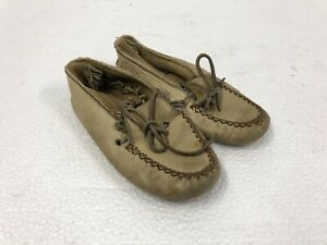 Vintage Leather Moccasins CAPITOL BRAND white shoes indian logo flats decor CAN
