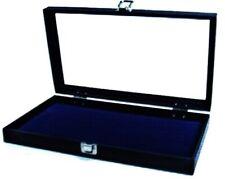1 Key Lock Blue Pad Display Box Case Militaria Medals Pins Jewelry Awards Knife