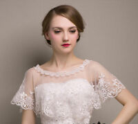 New Lace Tulle Bridal Shawl Wrap Stole Wedding Shrug Bolero Jacket