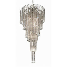 9 LIGHT CHROME EMPIRE CHANDELIER ASFOUR CRYSTAL DINING LIVING ROOM FOYER HALLWAY