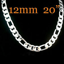 "Cool 925Sterling Silver 12MM 20"" Flat 3 Space 1 Strong Men Chain Necklace YN196"