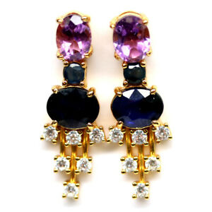 NATURAL OVAL BLUE SAPPHIRE AMETHYST & CZ EARRINGS 925 SILVER STERLING