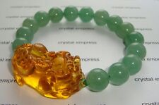 Feng Shui - 2015 Citrine Pi Yao with Green Aventurine Bracelet (10mm beads)